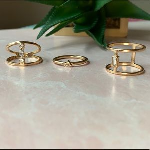 NWT Set of 3 Stackable Gold Rings Rhinestones Sz M